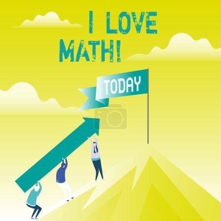 Photo pour Note d'écriture montrant que j'aime les mathématiques. Photo d'affaires mettant en valeur Pour aimer beaucoup faire des calculs mathématiques nombre geek démonstration - image libre de droit