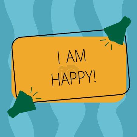 Photo pour Ecriture conceptuelle montrant que je suis heureux. Photo d'affaires mettant en valeur Pour avoir une vie remplie d'amour bonheur au travail Deux mégaphones avec icône sonore sur forme rectangulaire esquissée - image libre de droit