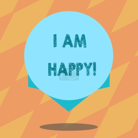 Photo pour Signe texte montrant que je suis heureux. Photo conceptuelle Avoir une vie épanouie pleine d'amour bonheur au travail Cercle de couleur vierge Photo flottante avec ombre et design à la lisière - image libre de droit