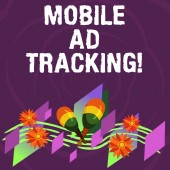 Handwriting text Mobile Ad Tracking. Concept meaning monitor brand perforanalysisce including advertising awareness Colorful Instrument Maracas Handmade Flowers and Curved Musical Staff.