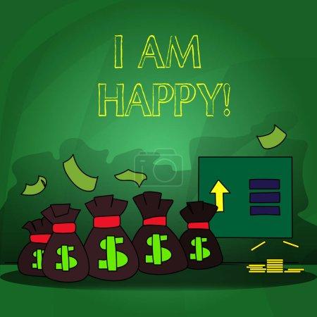 Photo pour Texte d'écriture de mot Je suis heureux. Concept d'entreprise pour Avoir une vie remplie d'amour bonheur au travail - image libre de droit