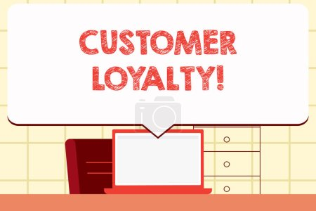 Photo for Writing note showing Customer Loyalty. Business concept for Client Satisfaction LongTerm relation Confidence - Royalty Free Image
