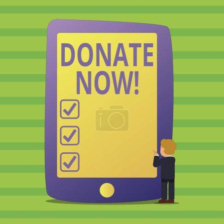 Photo pour Ecriture conceptuelle montrant Donate Now. Signification conceptuelle Donner quelque chose à un organisme de bienfaisance Être un donneur d'organes Aider les autres - image libre de droit