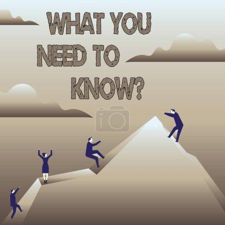 Photo pour Signe texte montrant ce que vous devez savoir question. Photo d'affaires mettant en valeur l'éducation développe vos connaissances et compétences - image libre de droit