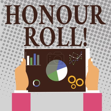 Photo for Writing note showing Honour Roll. Business concept for List of students who have earned grades above a specific average - Royalty Free Image
