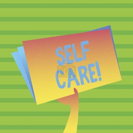 Texto de escritura de palabras Self Care. Concepto de negocio para la protección que te das Control individual .