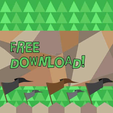 Photo pour Conceptuelle main écrit montrant Free Download. Concept, ce qui signifie que les fichiers téléchargement sans tout frais de technologie en ligne - image libre de droit