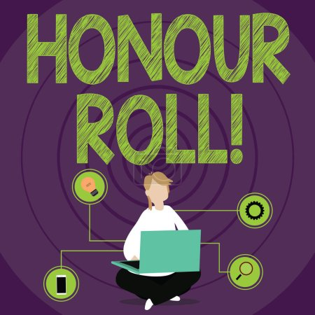 Photo for Conceptual hand writing showing Honour Roll. Concept meaning List of students who have earned grades above a specific average - Royalty Free Image
