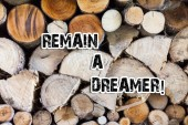 Conceptual hand writing showing Remain A Dreamer. Business photo text they spend lot of time thinking about and planning things Wooden background vintage wood wild message ideas thoughts.