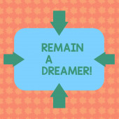 Writing note showing Remain A Dreamer. Business photo showcasing they spend lot of time thinking about and planning things Arrows on Four Sides of Blank Rectangular Shape Pointing Inward photo.