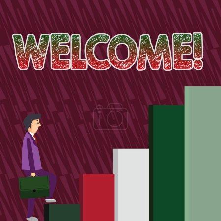Écriture conceptuelle montrant Bienvenue. Texte de la photo d'affaires salutation chaleureuse reconnaissance pour quelqu'un aimable aimé remercié homme portant une mallette dans l'expression Pensive Grimper .