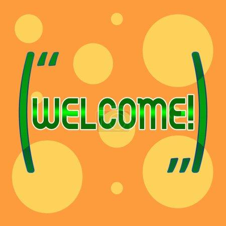 Signe texte montrant Bienvenue. Photo conceptuelle Remerciements chaleureux pour quelqu'un aimable aimé remercié Différentes tailles de cercles jaunes vides au hasard sur fond orange pâle .