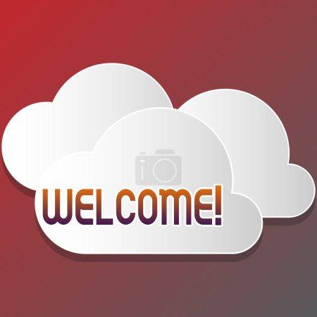 Signe texte montrant Bienvenue. Photo conceptuelle Remerciement chaleureux pour quelqu'un aimable aimé remercié Blanc blanc Nuages moelleux découpés hors de la planche flottant les uns sur les autres .