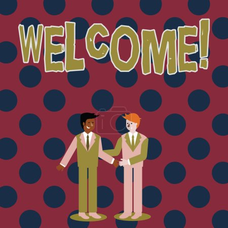 Note de bienvenue. Photo d'affaires mettant en valeur la reconnaissance chaleureuse de salutation pour quelqu'un aimable aimé remercié hommes d'affaires souriant et saluant l'autre en se serrant la main .
