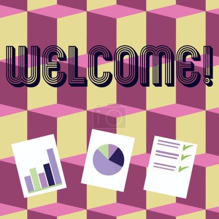 Note de bienvenue. Photo d'affaires montrant une salutation chaleureuse reconnaissance pour quelqu'un aimable aimé remercié Présentation de la barre, des données et graphique à secteurs Graphique sur le livre blanc .