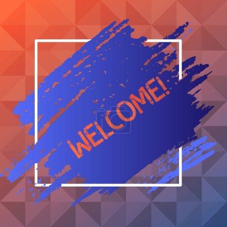 Texte manuscrit Bienvenue. Concept signifiant salutation chaleureuse reconnaissance pour quelqu'un aimable aimé remercié bleu ton peinture intérieur carré ligne cadre. Boues texturées avec espace vide .