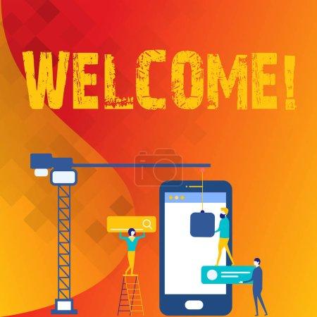 Texte d'écriture de mot Bienvenue. Concept d'affaires pour salutation chaleureuse reconnaissance pour quelqu'un aimable aimé remercié Personnel Travailler ensemble pour un objectif cible commun avec SEO processus icônes .