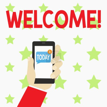 Écriture manuscrite texte Bienvenue. Concept signifiant salutation chaleureuse reconnaissance pour quelqu'un aimable aimé remercié main humaine tenant Smartphone avec numéroté non lu message vierge à l'écran .