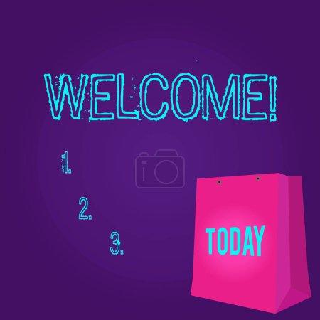 Texte d'écriture de mot Bienvenue. Concept d'affaires pour la reconnaissance de salutation chaude pour quelqu'un aimable aimé remercié couleur sac cadeau avec trou perforé mais sans poignée sur Twotone espace vide .