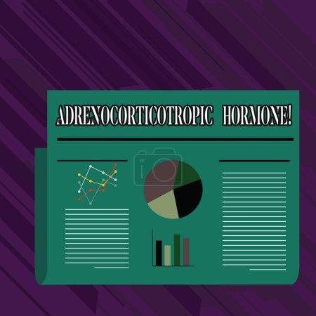 konzeptionelle Handschrift mit adrenokortikotropem Hormon. Business-Foto präsentiert Hormon von Hypophyse Cortex sezerniert bunte Layout-Design-Plan der Textzeile, Balken und Tortendiagramm.