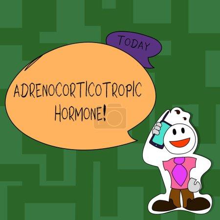Textzeichen mit adrenokortikotropem Hormon. konzeptionelles Fotohormon, das von der Hypophysenrinde ausgeschüttet wird, Smiley-Gesicht Mann mit Krawatte hält Smartphone im Sticker-Stil an den Kopf.