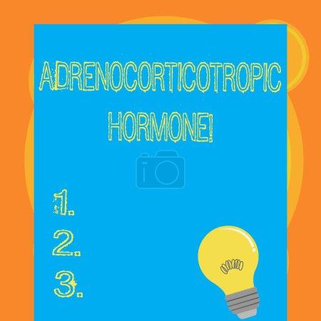 Schreibnotiz, die das adrenokortikotrope Hormon zeigt. Geschäftsfoto zeigt Hormon, das von der Hypophysenrinde abgesondert wird, Glühbirne mit Filament im Inneren, das auf leerem Farbpapier ruht.