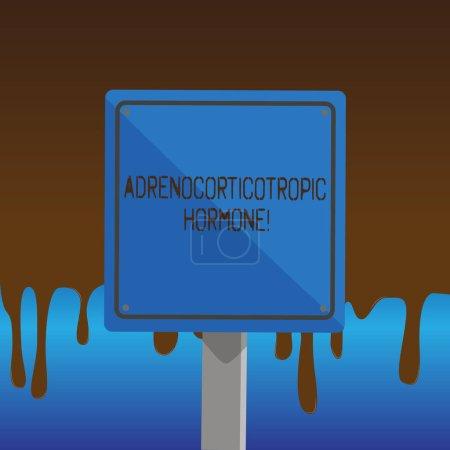 Textzeichen mit adrenokortikotropem Hormon. konzeptionelles Fotohormon, das von der Hypophysenrinde abgesondert wird 3d quadratisch leer bunte Vorsicht Verkehrsschild mit schwarzem Rand auf Holz montiert.