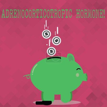 Handschrift Text adrenokortikotropes Hormon. Konzept, d.h. Hormon, das von der Hypophysenrinde ausgeschüttet wird, Farbe Sparschwein Seitenansicht und Dollarmünzen, die in den Schlitz fallen.