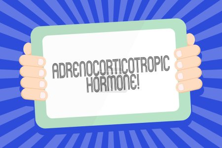 Textzeichen mit adrenokortikotropem Hormon. konzeptionelle Foto-Hormon durch Hypophyse Cortex Farb-Tablet-Smartphone mit leerem Bildschirm Handheld von der Rückseite des Gadgets abgesondert.