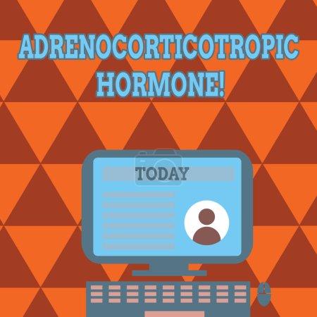 konzeptionelle Handschrift mit adrenokortikotropem Hormon. Business Foto Text Hormon von Hypophyse Cortex Computer auf Ständer montiert mit Online-Profildaten auf dem Bildschirm abgesondert.