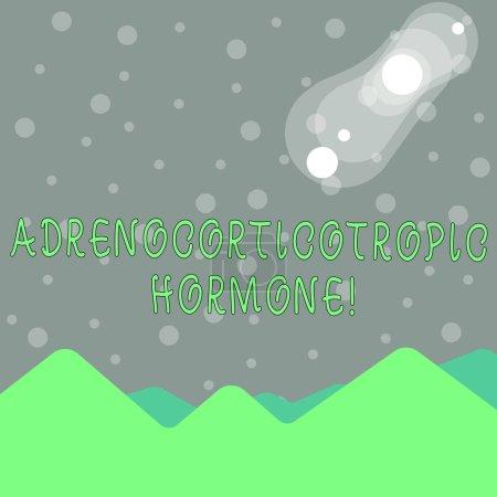 Handschrift Textschreiben adrenokortikotropes Hormon. Konzept, d.h. Hormon, das von der Hirnanhangsdrüse abgesondert wird Blick auf bunte Berge und Hügel mit Mond- und Sonnenfinsternis.