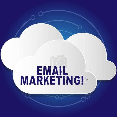 konzeptionelle Handschrift, die E-Mail Marketing zeigt. Business Foto Text Akt des Versands kommerzieller Nachricht typischerweise Gruppe von weißen Wolken aus Platten geschnitten, die übereinander schweben.