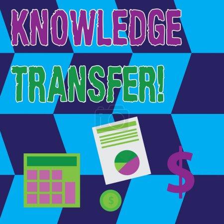 Signe texte montrant le transfert des connaissances. Partage de photos conceptuelles ou diffusion des connaissances et de l'expérience Calculer l'investissement en dollars dans l'or et présenter des données à travers un graphique à secteurs .