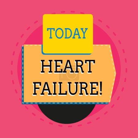 Text schreiben Herzinsuffizienz. Geschäftskonzept für das schwere Versagen des Herzens ordnungsgemäß funktionieren elektronische Gerät mit nicht symmetrischen Dreieck Kantenform für den Druck.
