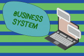 Writing note showing Business System. Business photo showcasing A method of analyzing the information of organizations Laptop receiving sending information internet wireless.