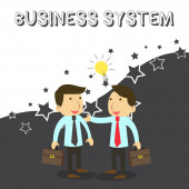 Word writing text Business System. Business concept for A method of analyzing the information of organizations Two White Businessmen Colleagues with Brief Cases Sharing Idea Solution.