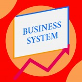 Writing note showing Business System. Business photo showcasing A method of analyzing the information of organizations One blank rectangle above another arrow zigzag upwards increasing sale.