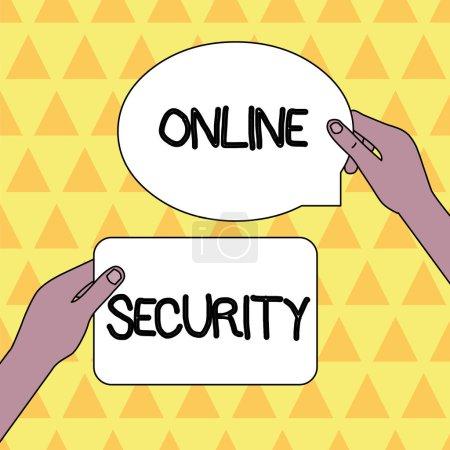 Handschrift Text Online-Sicherheit. Konzept, d.h. Regeln zum Schutz vor Angriffen über das Internet, zwei unbeschriftete Tablettenschilder, die in den Händen gehalten werden.