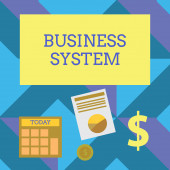 Text sign showing Business System. Conceptual photo A method of analyzing the information of organizations Computing Dollar Investment in Gold and Presenting Data thru Pie Chart Graph.