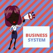 Writing note showing Business System. Business photo showcasing A method of analyzing the information of organizations Young Woman Speaking in Blowhorn Colored Backgdrop Text Box.