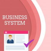 Handwriting text writing Business System. Concept meaning A method of analyzing the information of organizations Curriculum Vitae Resume of Young Male Candidate Marked by Colored Checkmark.