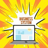 Text sign showing Business System. Conceptual photo A method of analyzing the information of organizations Open Modern Laptop Switched On with Website Homepage on Screen Web Search.
