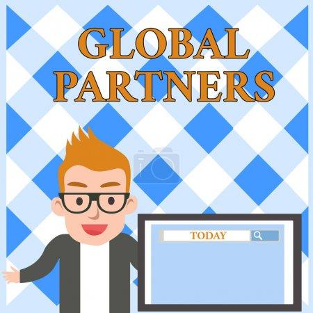 Photo pour Rédaction conceptuelle de la main montrant Global Partners. Concept signifiant Deux entreprises ou plus de différents pays travaillent en équipe Écran de conférencier masculin avec outil de recherche sur la présentation de l'écran - image libre de droit