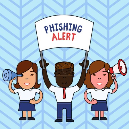Photo pour Note d'écriture montrant Phishing Alert. Concept d'entreprise pour la sensibilisation à la tentative frauduleuse d'obtenir des informations sensibles Personnes avec bannière, mégaphone et démonstration de verre espion - image libre de droit