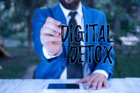 Writing note showing Digital Detox. Business conce...