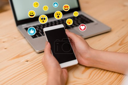Photo for Social Media Communication Chat Messages Blank Speech Bubble Flat Icon - Royalty Free Image