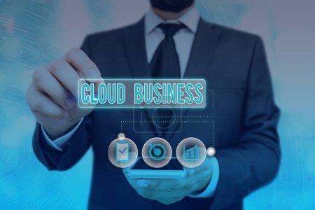 Photo pour Texte d'écriture Word Cloud Business. Photo d'affaires montrant la prestation de services sur Internet mise à la disposition des utilisateurs - image libre de droit