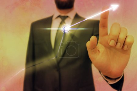 Photo for Arrow Symbol Going Upward Denoting Points Showing Significant Achievement - Royalty Free Image