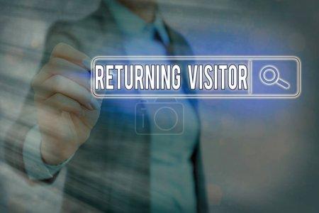Photo pour Note d'écriture montrant le visiteur de retour. Concept d'entreprise pour qui avait visité avant et revenir sur votre site - image libre de droit