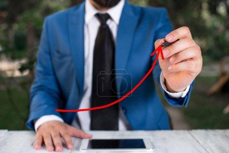Photo for Digital Arrowhead Curve Rising Upward Denoting Growth Development Concept - Royalty Free Image